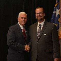 Joel Grewe with Vice President Mike Pence