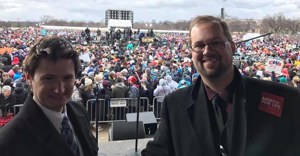 Jeremiah Lorrig and Joel Grewe on stage March for Life
